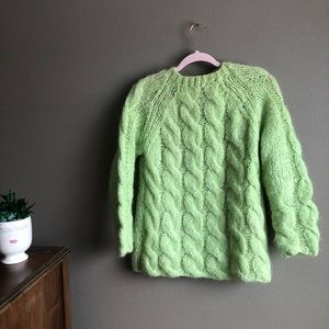 Vintage Italian mohair chartreuse green sweater